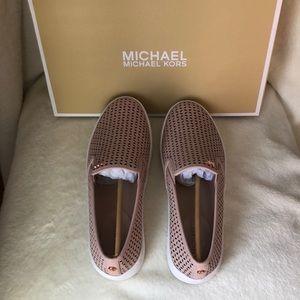 NIB Michael Kors pink slip-on sneakers